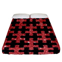 Puzzle1 Black Marble & Red Glitter Fitted Sheet (queen Size) by trendistuff