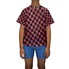 Houndstooth2 Black Marble & Red Glitterhoundstooth2 Black Marble & Red Glitter Kids  Short Sleeve Swimwear