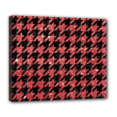 Houndstooth1 Black Marble & Red Glitter Deluxe Canvas 24  X 20   by trendistuff