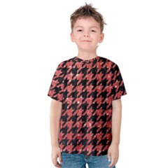 Houndstooth1 Black Marble & Red Glitter Kids  Cotton Tee