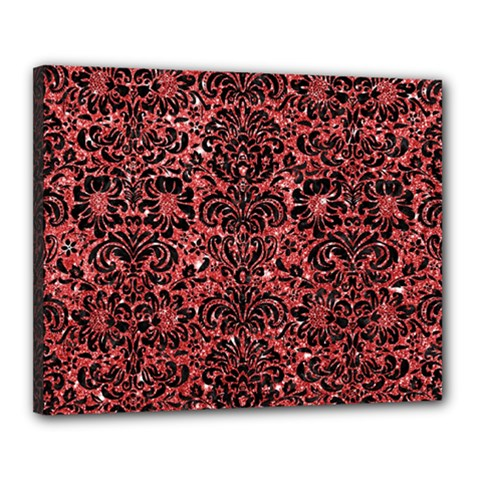 Damask2 Black Marble & Red Glitter Canvas 20  X 16  by trendistuff
