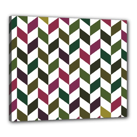 Zigzag Chevron Pattern Green Purple Canvas 24  X 20  by vintage2030