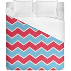 Zigzag Chevron Pattern Blue Red Duvet Cover (california King Size) by vintage2030