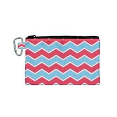 Zigzag Chevron Pattern Blue Red Canvas Cosmetic Bag (small) by vintage2030