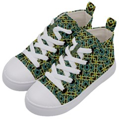 Arabesque Seamless Pattern Kid s Mid Top Canvas Sneakers by dflcprints
