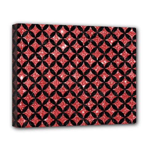 Circles3 Black Marble & Red Glitter Deluxe Canvas 20  X 16   by trendistuff
