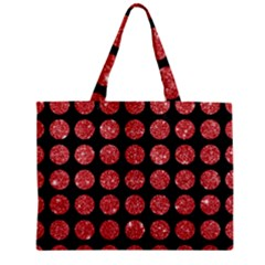 Circles1 Black Marble & Red Glitter (r) Zipper Mini Tote Bag by trendistuff