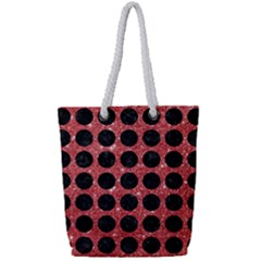 Circles1 Black Marble & Red Glitter Full Print Rope Handle Tote (small)