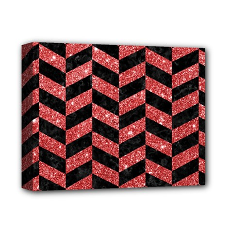 Chevron1 Black Marble & Red Glitter Deluxe Canvas 14  X 11  by trendistuff