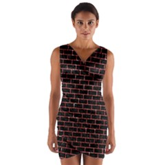 Brick1 Black Marble & Red Glitter (r) Wrap Front Bodycon Dress