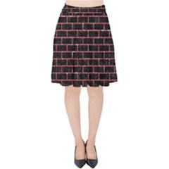 Brick1 Black Marble & Red Glitter (r) Velvet High Waist Skirt