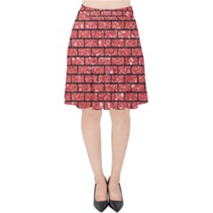 Brick1 Black Marble & Red Glitter Velvet High Waist Skirt by trendistuff