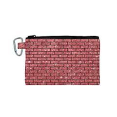 Brick1 Black Marble & Red Glitter Canvas Cosmetic Bag (small) by trendistuff