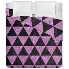 Triangle3 Black Marble & Purple Glitter Duvet Cover Double Side (california King Size) by trendistuff