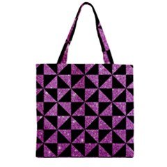 Triangle1 Black Marble & Purple Glitter Zipper Grocery Tote Bag by trendistuff