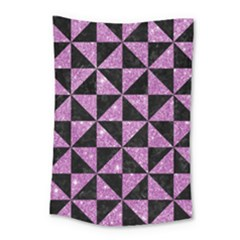 Triangle1 Black Marble & Purple Glitter Small Tapestry