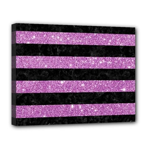 Stripes2black Marble & Purple Glitter Canvas 14  X 11  by trendistuff