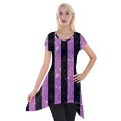 Stripes1 Black Marble & Purple Glitter Short Sleeve Side Drop Tunic by trendistuff