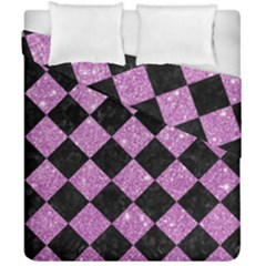 Square2 Black Marble & Purple Glitter Duvet Cover Double Side (california King Size) by trendistuff