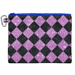 Square2 Black Marble & Purple Glitter Canvas Cosmetic Bag (xxl) by trendistuff