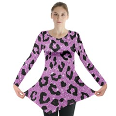 Skin5 Black Marble & Purple Glitter (r) Long Sleeve Tunic  by trendistuff