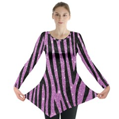 Skin4 Black Marble & Purple Glitter (r) Long Sleeve Tunic  by trendistuff