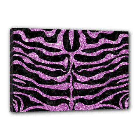 Skin2 Black Marble & Purple Glitter (r) Canvas 18  X 12  by trendistuff