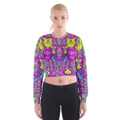 Fantasy Bloom In Spring Time Lively Colors Cropped Sweatshirt