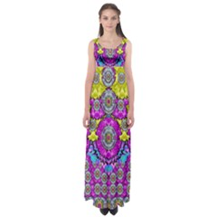 Fantasy Bloom In Spring Time Lively Colors Empire Waist Maxi Dress