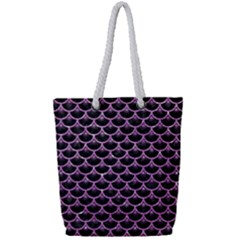 Scales3 Black Marble & Purple Glitter (r) Full Print Rope Handle Tote (small)