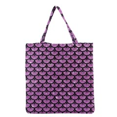 Scales3 Black Marble & Purple Glitter Grocery Tote Bag by trendistuff
