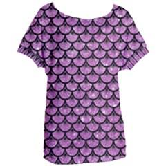 Scales3 Black Marble & Purple Glitter Women s Oversized Tee by trendistuff