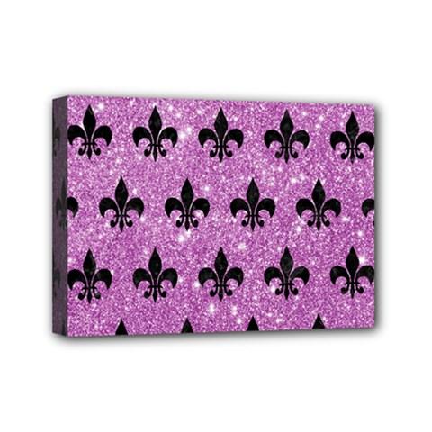 Royal1 Black Marble & Purple Glitter (r) Mini Canvas 7  X 5  by trendistuff