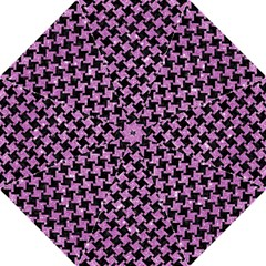 Houndstooth2 Black Marble & Purple Glitter Folding Umbrellas by trendistuff