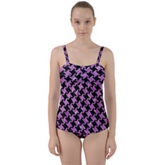 Houndstooth2 Black Marble & Purple Glitter Twist Front Tankini Set