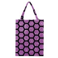 Hexagon2 Black Marble & Purple Glitter Classic Tote Bag by trendistuff