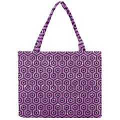 Hexagon1 Black Marble & Purple Glitter Mini Tote Bag by trendistuff