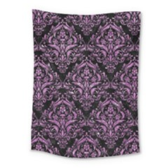 Damask1 Black Marble & Purple Glitter (r) Medium Tapestry by trendistuff