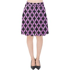 Circles3 Black Marble & Purple Glitter (r) Velvet High Waist Skirt by trendistuff