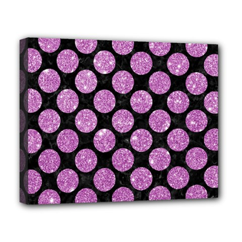 Circles2 Black Marble & Purple Glitter (r) Deluxe Canvas 20  X 16   by trendistuff