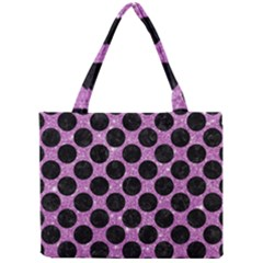 Circles2 Black Marble & Purple Glitter Mini Tote Bag by trendistuff