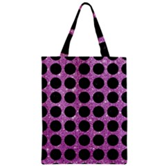 Circles1 Black Marble & Purple Glitter Zipper Classic Tote Bag by trendistuff