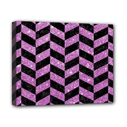 Chevron1 Black Marble & Purple Glitter Canvas 10  X 8  by trendistuff