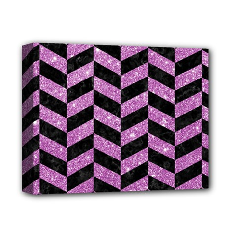 Chevron1 Black Marble & Purple Glitter Deluxe Canvas 14  X 11  by trendistuff