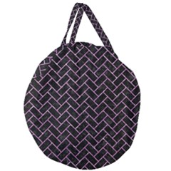 Brick2 Black Marble & Purple Glitter (r) Giant Round Zipper Tote by trendistuff