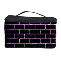 Brick1 Black Marble & Purple Glitter (r) Cosmetic Storage Case by trendistuff