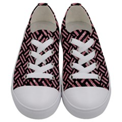 Woven2 Black Marble & Pink Glitter (r) Kids  Low Top Canvas Sneakers