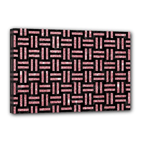 Woven1 Black Marble & Pink Glitter (r) Canvas 18  X 12  by trendistuff