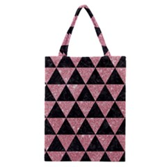 Triangle3 Black Marble & Pink Glitter Classic Tote Bag