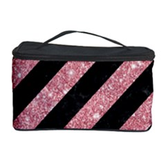 Stripes3 Black Marble & Pink Glitter (r) Cosmetic Storage Case by trendistuff